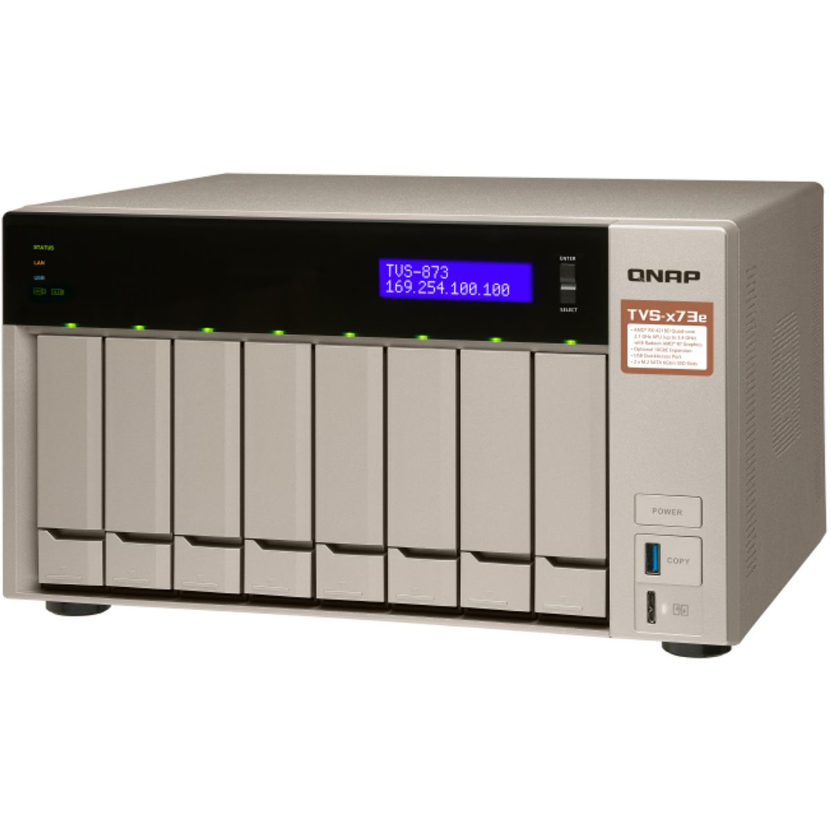 Qnap TVS-873e-4G 8-Bay 30TB Bundle mit 3x 10TB IronWolf ST10000VN0008