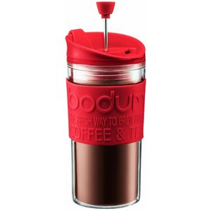 Bodum K11102-294 Travel Press Set Kaffeebereiter mit extra Trinkaufsatz, 0.35 l