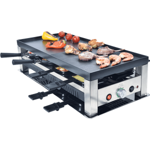 Solis Grill 5 in 1, Raclette- Tischgrill- Wok- Crêpes-Pizza, 8 Personen, Edelstahl, Table Grill 5 in 1 Typ 790