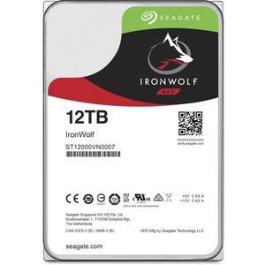 Seagate IronWolf 12 TB HDD, NAS interne Festplatte (8, 9 cm (3, 5 Zoll), 7200 U-Min, 256 MB Cache, SATA 6 GB-S, silber), Modellnr.: ST12000VN0008
