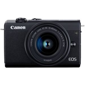 Canon EOS M200 Systemkamera (Body, 24,1 MP, klappbares Display, 4K und Full-HD, DIGIC 8, Dual Pixel CMOS AF, Bluetooth und WLAN) Gehäuse mit Objektiv EF-M 15-45mm F-3.5-6.3 IS STM Kit schwarz