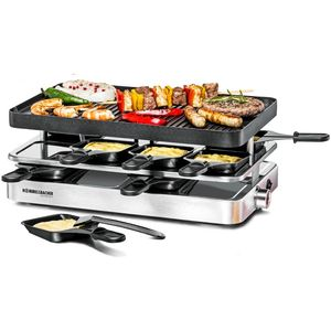 Rommelsbacher RC 1400 Raclette Grill 8 Pfännchen, 1400W Thermostat