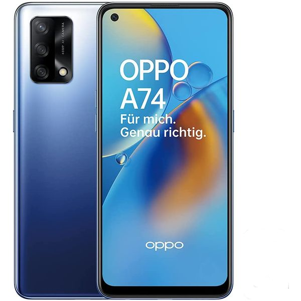 Oppo A74 Smartphone 16,26cm (6,42 Zoll) AMOLED-Display, 128GB interner Speicher, 6GB RAM, Android 11, Midnight Blue