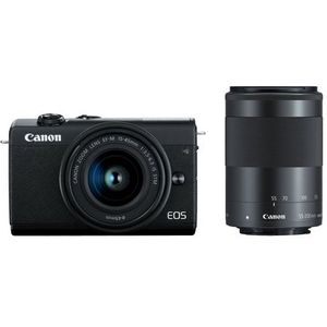 Canon EOS M200 Systemkamera (Body, 24,1 MP, 4K und Full-HD, DIGIC 8, Dual Pixel CMOS AF, Bluetooth und WLAN) Gehäuse mit Objektiven EF-M 15-45mm F3.5-6.3 IS STM + EF-M 55-200mm F4-6.3 IS STM Kit
