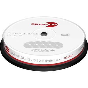 PRIMEON DVD+R DL 8.5GB-240Min-8x Cakebox, Silver-Protect-disc Surface (10 Disc)