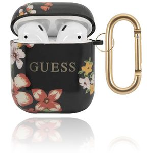 GUESS Cover Silicone Floral Black, für Apple AirPods 1 & 2, GUACA2TPUBKFL04, Blister #3700740475362