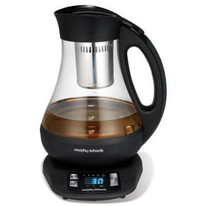 Morphy Richards Teekocher 43970, 2200, Glass, 1 Liter, schwarz-transparent