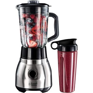 Russell Hobbs Standmixer Glas Steel 2-in-1, inkl. To-Go-Becher & Deckel, 1.5l Glasbehälter, Mixer 0.8 PS-Motor, Impuls--Ice-Crush Funktion, mini Smoothie-Maker 23821-56