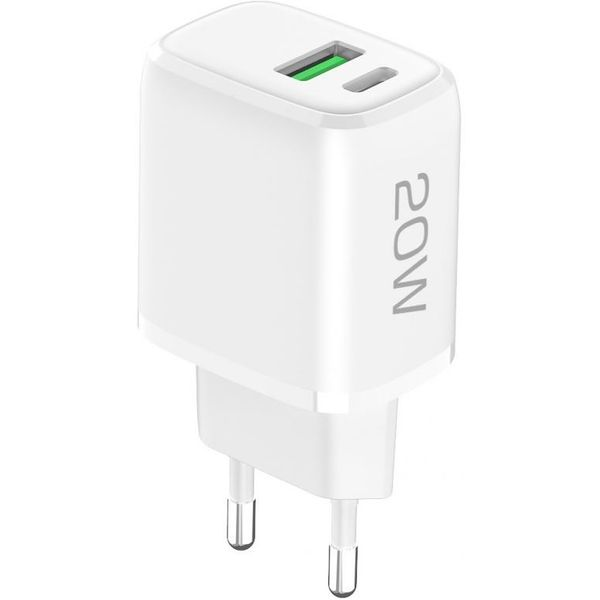 D-Parts Fontastic USB Typ-C Schnell-Reiselader Ovin, Power Delivery, Fast Charge, 3 A, 20 W, Netzteil, weiß