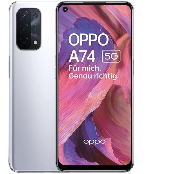 Oppo A74 5G Smartphone 16,51cm Pixel (6,5 Zoll) LTPS-Display, 128GB interner Speicher, 6GB RAM, Android 11, Space Silver
