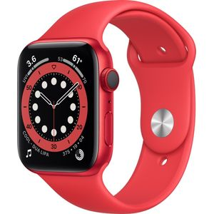 Apple Watch Series 6 Smartwatch GPS + Cellular, 44mm, Aluminiumgehäuse PRODUCT(RED), Sportarmband PRODUCT(RED)