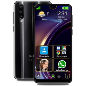 Beafon M6 Senioren-Smartphone 15,9cm (6,26 Zoll) IPS-Display, 32GB interner Speicher, 2GB RAM, Android, Schwarz