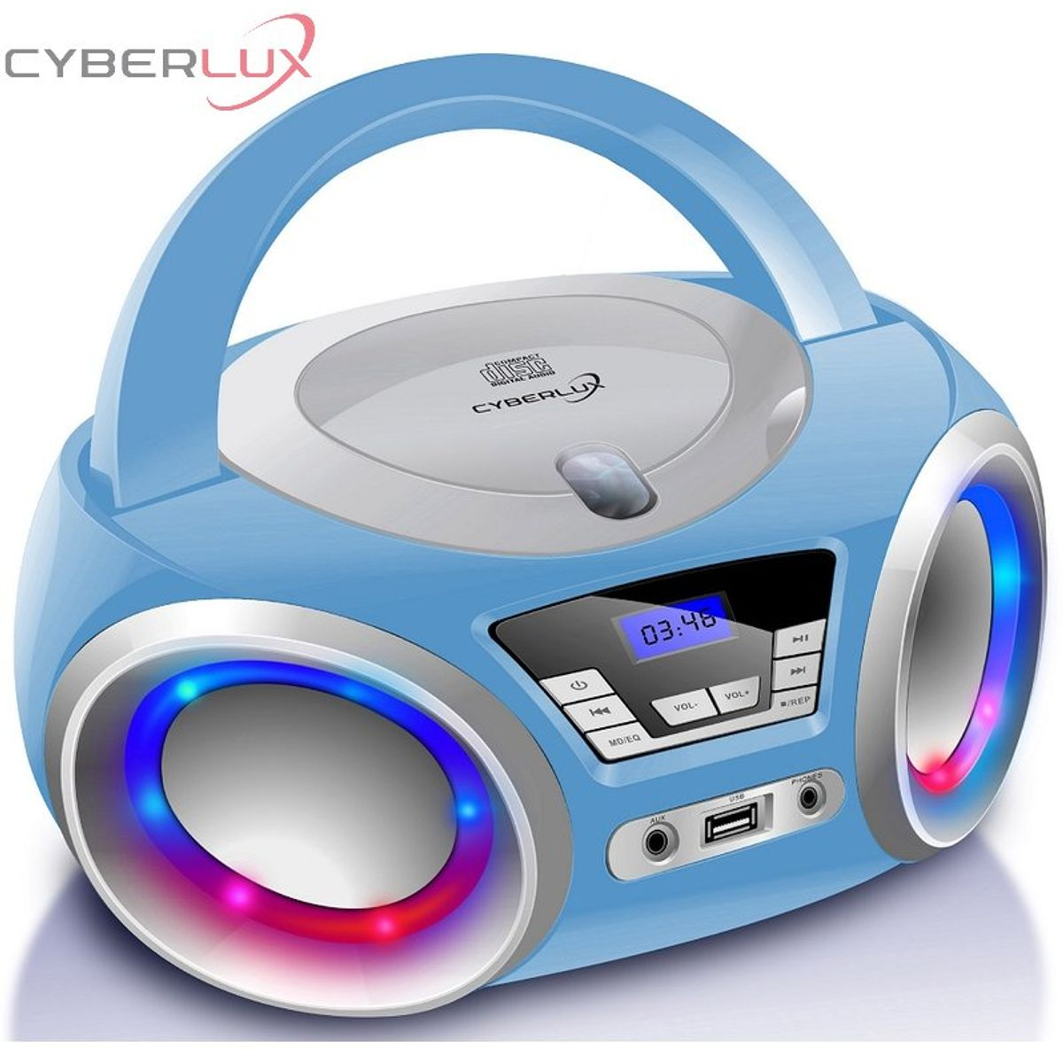 Cyberlux CD-Player mit LED-Beleuchtung in Pink