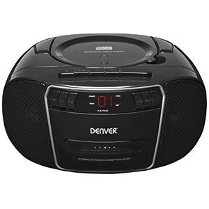 Denver Electronics TCP-40 Black - CD-Player (2 W, FM, Tragbarer CD-Player, Schwarz, LCD, 3,5 mm)