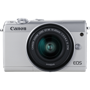 Canon EOS M100 Systemkamera (24,2MP, 7,5 cm (3 Zoll) Display, WLAN, NFC, Bluethooth, Full HD) Kit mit EF-M 15-45 mm f-3.5-6.3 IS STM weiß