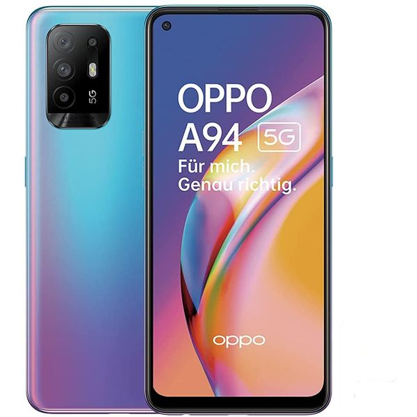 Oppo A94 5G Smartphone 16,26cm (6,42 Zoll) AMOLED-Display, 128GB interner Speicher, 8GB RAM, Dual-SIM, Android 11, Cosmo Blue