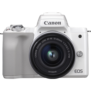 Canon EOS M50 spiegellose Systemkamera mit Objektiv EF-M 15-45mm IS STM (24,1 MP, dreh-und schwenkbares 7,5cm (3 Zoll) Touchscreen-LCD, Digic 8, 4K Video, OLED EVF, WLAN, Bluetooth), weiß-silber