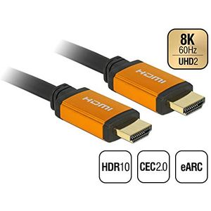 Delock Hochwertiges 8K HDMI Kabel 60Hz 48 Gbps, 1,50 m Länge, Ultra HD2, 4K120Hz, eARC, UHDTV, HDR 10+, Variable Refresh Rate VRR, Dolby Vision, für Xbox, PS4, Blu Ray Player, 85728